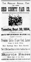 Image of 1884 advertisement for Ohio County Fair; includes woodcut of men on horseback.