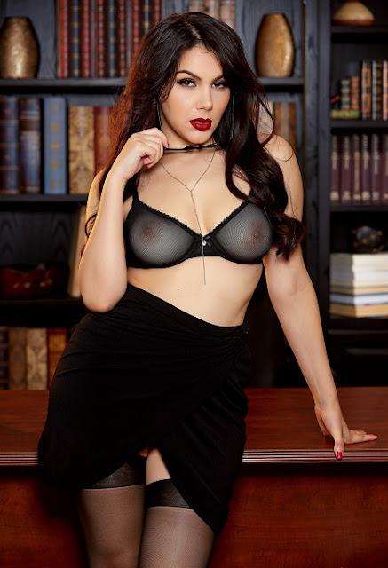 Valentina Nappi black bra tits striptease