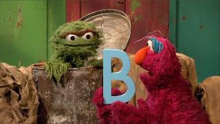 Telly and Oscar say B words. Sesame Street Episode 4417 Grandparents Celebration season 44