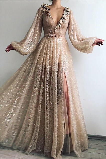 Sparkle Sequins Long Sleeves Prom Dress | Sexy V Neck Front Slit Long Prom Dress