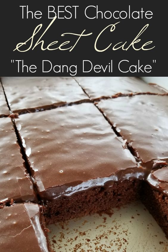 """""""The BEST chocolate Texas sheet cake recipe that's as velvety tender as petit fours and so sinfully addictive you'll call it the devil! """""""