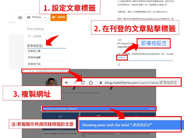 how to get blogger post label url