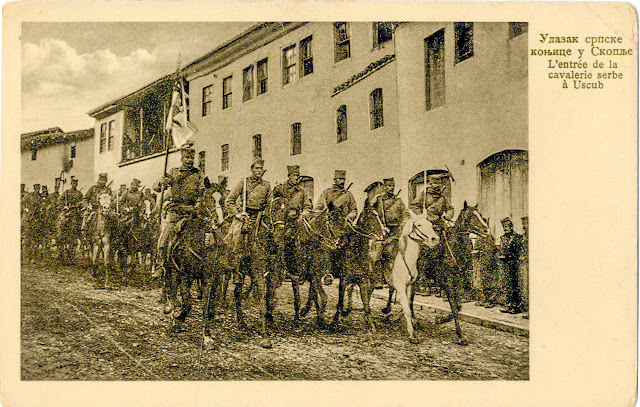 Serbian cavalry enters Skopje during the First Balkan War