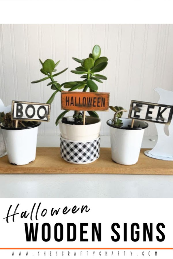 Check out this tutorial to make darling mini Wood Signs for Halloween from scrap wood  |  She's Crafty