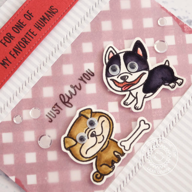 Sunny Studio Stamps: Devoted Doggies Background Basics Gingham Border Just Fur You Card by Lexa Levana