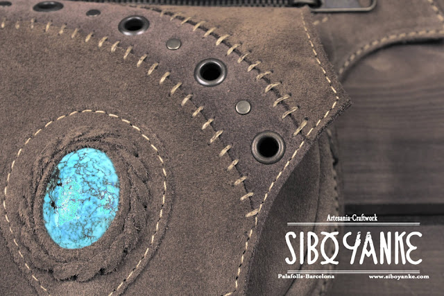 Festival Belt-Leather Utility Belt-Leather Hip Belt-Belt Bag-Waist Bag with Turquoise Stone HANDMADE by Sibo Yanke