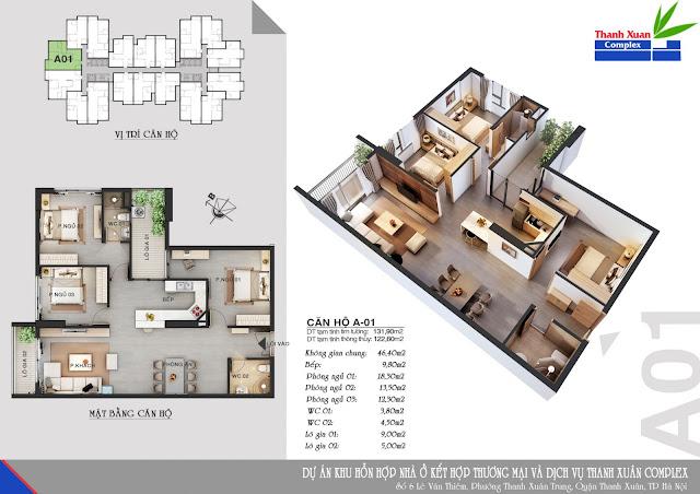 Thiết kế căn hộ A-01 Thanh Xuân Complex
