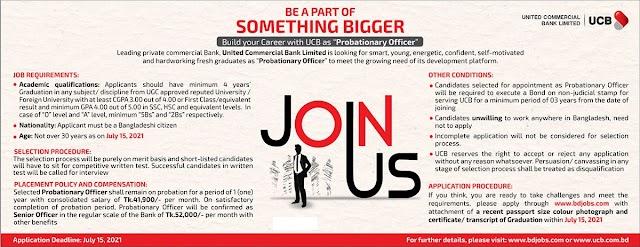 Job Circular : Probationary Officer for United Commercial Bank Ltd.