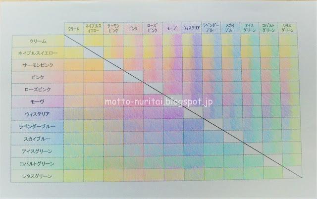 ホルベイン色鉛筆 パステルトーンのカラーチャート