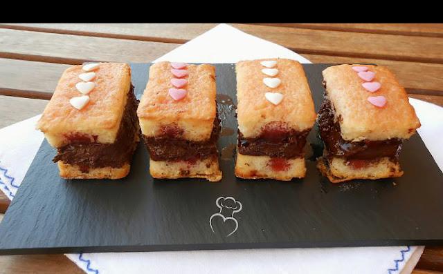 Borrachitos de nata con cerezas y chocolate