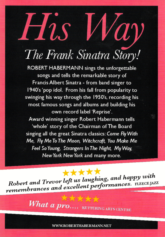 Flyer for Robert Habermann's The Frank Sinatra Story