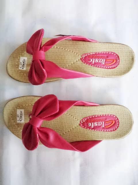 sandal classic pita merah muda wanita dewasa