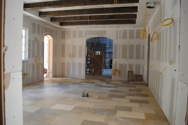 During construction of French chateau kitchen by Enchanted Home