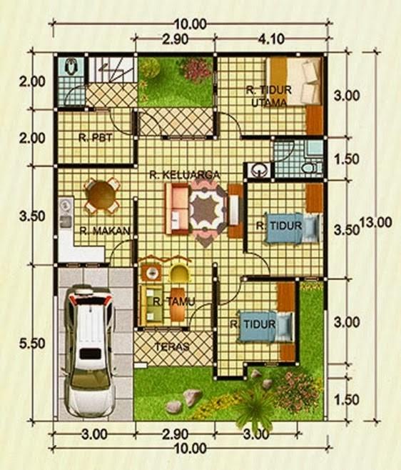 gambar denah rumah minimalis tipe 90 1