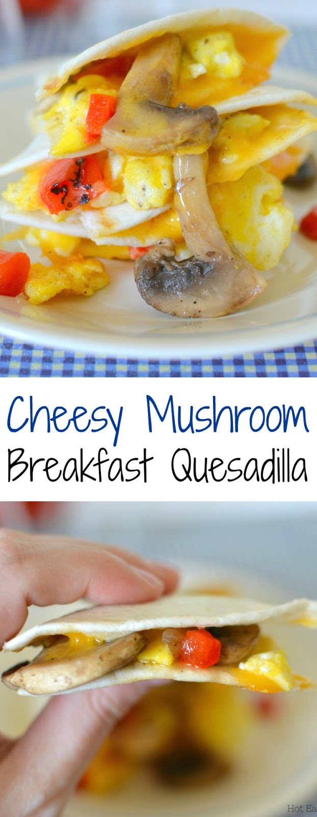 These easy and delicious breakfast mushroom quesadillas are packed with scrambled eggs, roasted red peppers and shredded cheddar cheese! Such a great way to start the day!