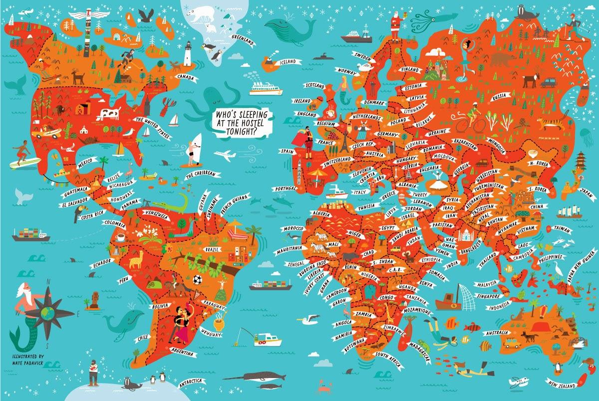I Draw Maps: World map wall mural for New York Loft Hostel