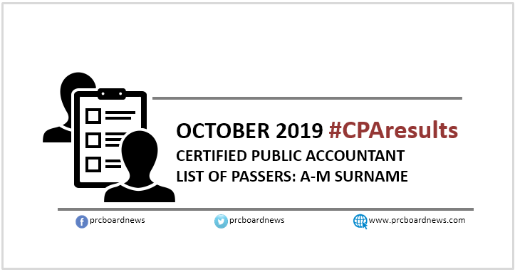 A-M LIST OF PASSERS: October 2019 CPA board exam result