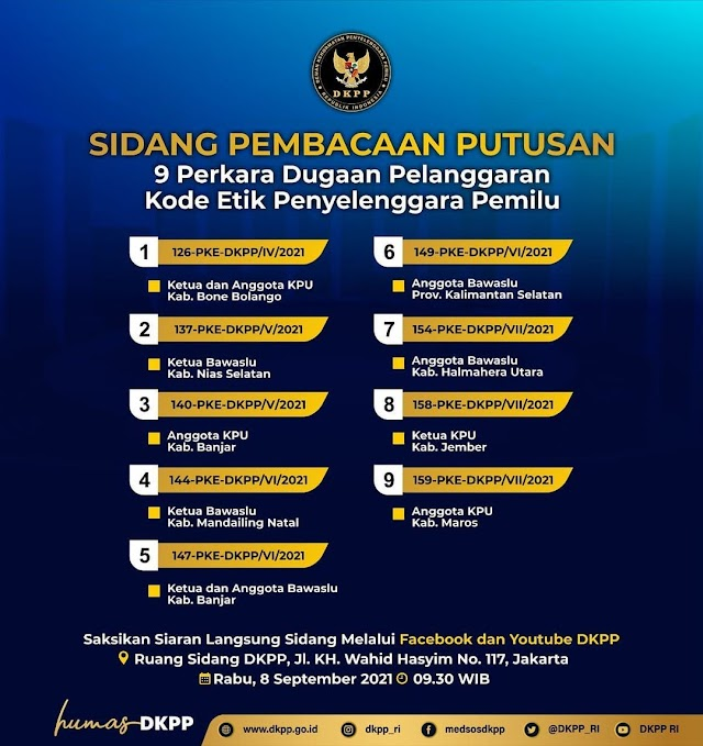 Besok, DKPP Gelar Putusan 9 Perkara Dugaan Pelanggaran Kode Etik Penyelenggara Pemilu