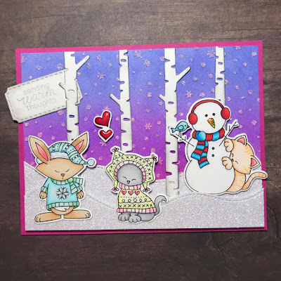 Sending warm thoughts by Amy T. features Petite Snow, Forest Scene Builder, Sweater Weather, Framework, and Newton's Curious Christmas by Newton's Nook Designs; #newtonsnook
