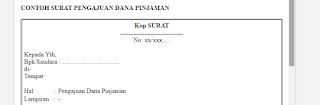 Contoh Surat Pengajuan Dana Pinjaman