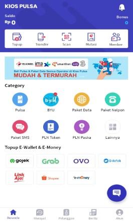 Tampilan Menu Utama di Aplikasi KiosonPulsa.com