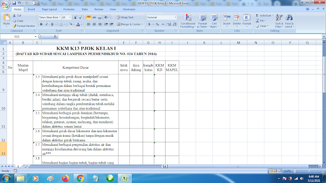 Download Contoh KKM K13 Kelas 1 SD Kurikulum 2013 Terbaru