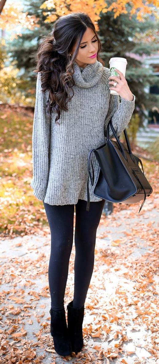 what to wear with a knit sweater : bag + leggings + boots