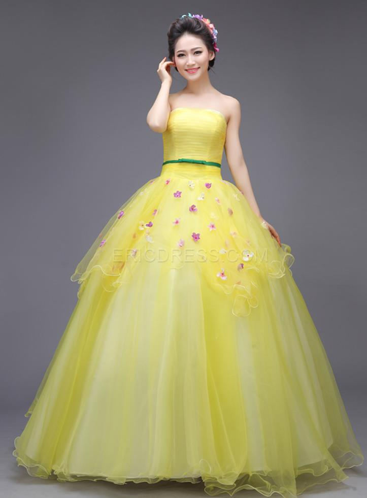 e4fc18337c9 Ericdress Admirable Strapless Appliques Floor-Length Ball Gown Dress
