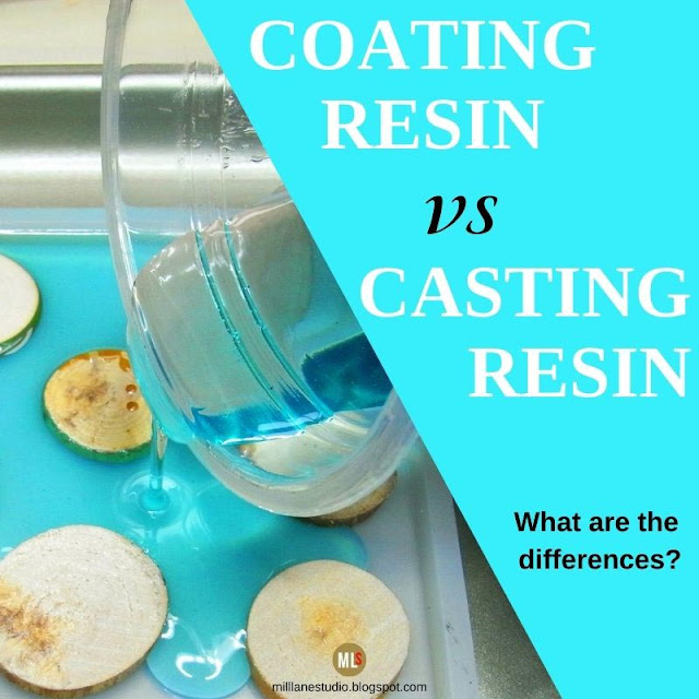 Transparent turquoise resin being poured around wood slices in a square silicone mould. Text overlay reads Coating Resin vs Casting Resin - What are the differences?