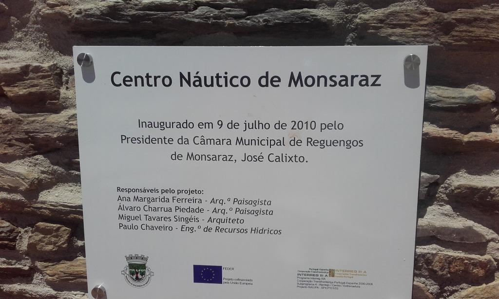 Placa Inauguração Centro Náutico de Monsaraz