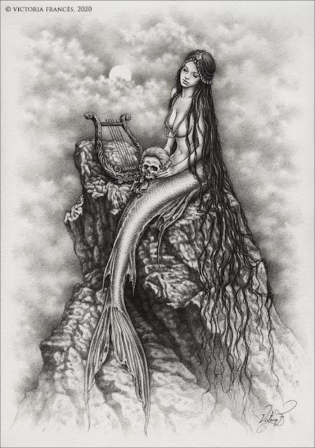 THE MERMAID'S TROPHY - Original Drawing by Victoria Francés
