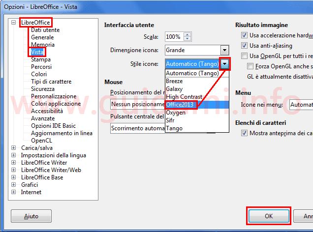 Finestra Opzioni LibreOffice cambiare Stile icone