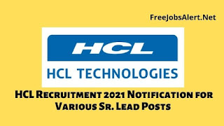 HCL Recruitment 2021 Notification for Various Sr. Lead Posts