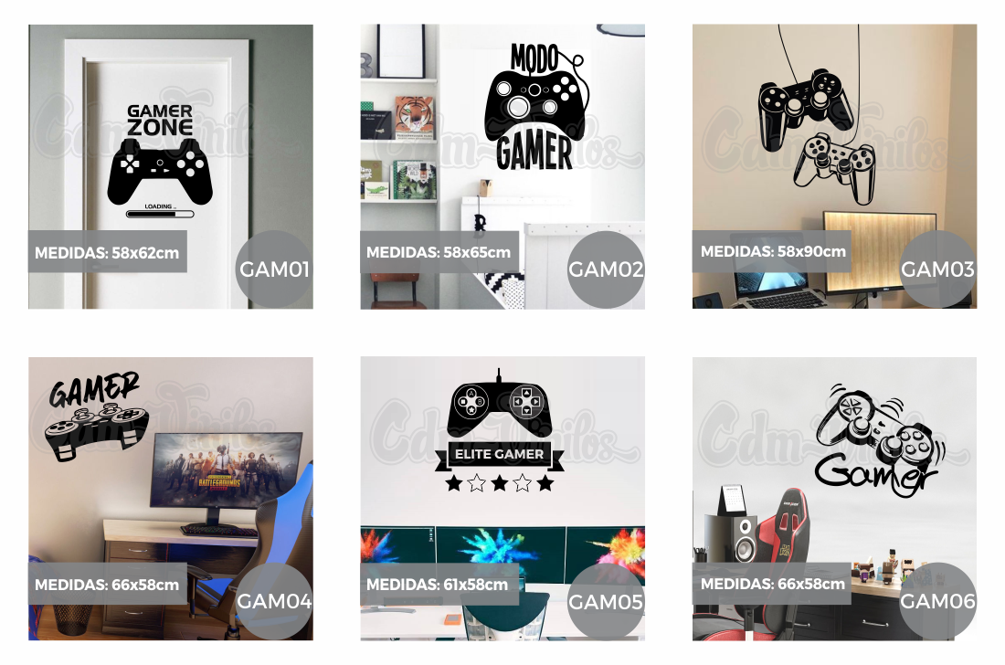 vinilo decorativo gamer gaming joysticks colgando