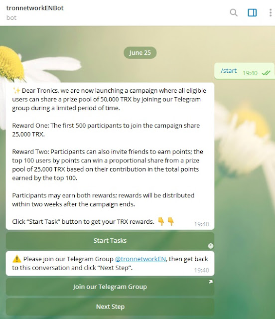 Complete Task and receive TRX coin free