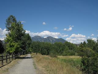 View of distant mountain peaks along Gattigator Linear Trail, Bozeman, Montana