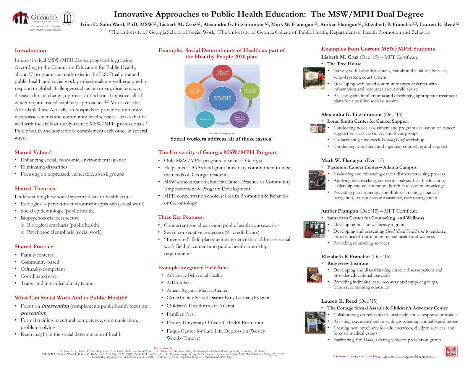 The University of Georgia Dual MSW MPH Program: 2015