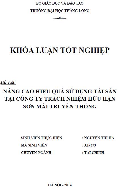 Nâng cao hiệu quả sử dụng tài sản tại Công ty TNHH Sơn mài Truyền thống