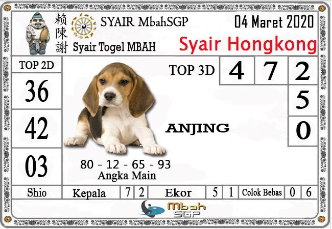 Prediksi Togel JP Hongkong Rabu 04 Maret 2020 - Syair Mbah SGP