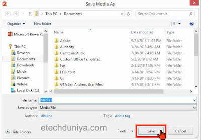 how to save recorded video on powerpoint