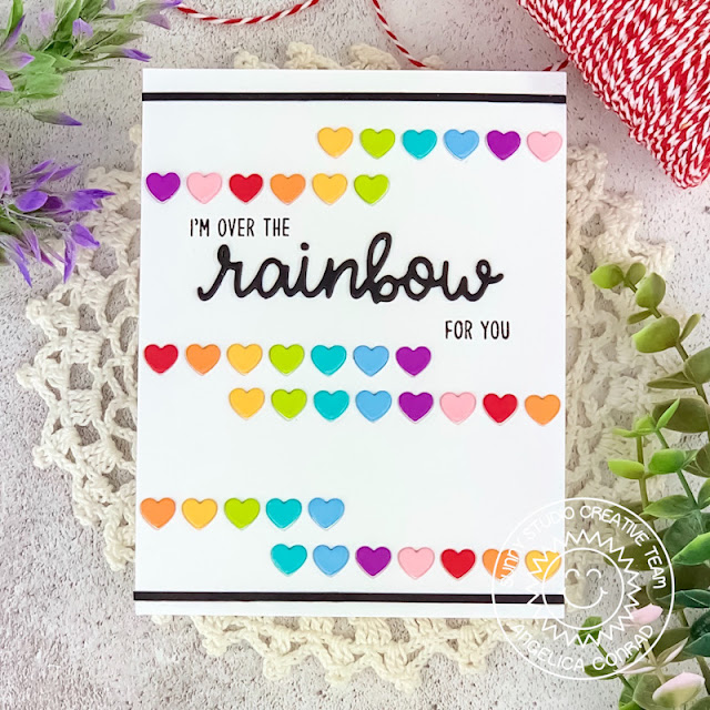 Sunny Studio Stamps: Heartstrings Border Die Rainbow Word Die Over The Rainbow Everyday Card by Angelica Conrad