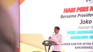 Presiden Jokowi Membuka HPN ke- 74 di Banjarmasin Kalimantan Selatan.