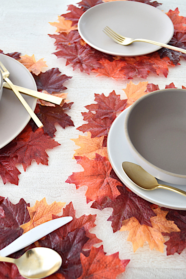 Fall Leaves Placemats under white and gold place setting