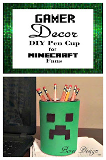 DIY Craft Tutorial: How to make your own Minecraft Creeper pen can, pencil cup, desk organizer.