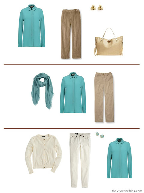 Three capsule wardrobe outfits including a jade blouse
