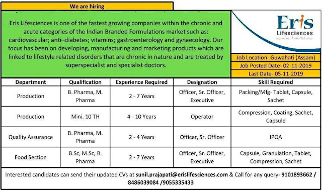 Eris Life sciences - Urgent job opportunities for Production / Quality Assurance / Food Section departments