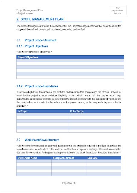 Scope Management, Scope Management Plan