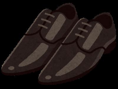 先の尖った革靴のイラスト(黒)