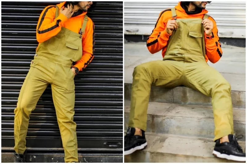 Men's dungarees/overalls fashion With hoodie