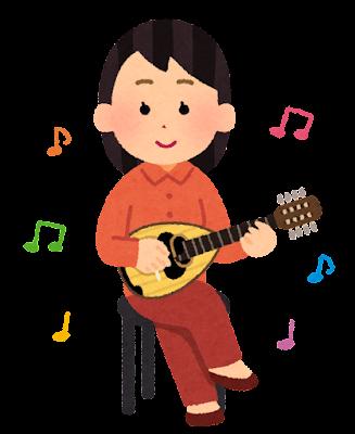 マンドリンを演奏する人のイラスト(女性)